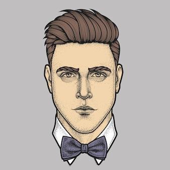 Ritratto disegnato a mano del viso pieno di uomo con farfallino