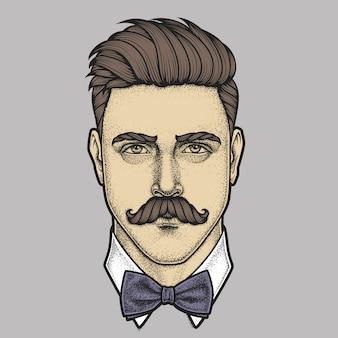 Ritratto disegnato a mano del viso pieno di uomo baffuto. illustrazione.