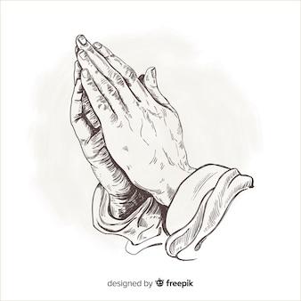 Priorità bassa di preghiera disegnata a mano mani