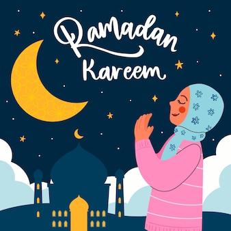 Carta di ramadan dell'illustrazione della donna di preghiera disegnata a mano