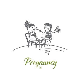 Illustrazione disegnata a mano di schizzo di concetto di tempo di gravidanza