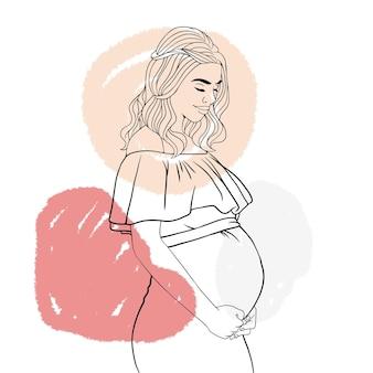 Madre incinta disegnata a mano per lo stile di arte della linea festa della mamma a