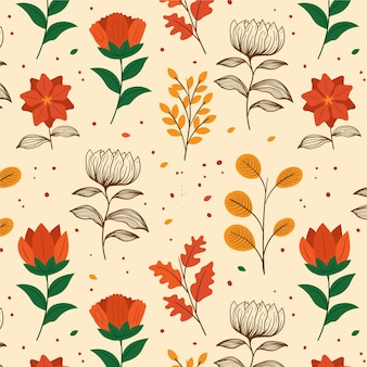 Modello di fiori pressati disegnati a mano