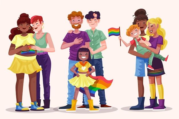 Collezione di famiglia giorno orgoglio disegnato a mano