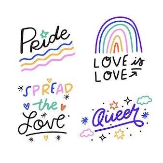 Collezione di etichette del giorno dell'orgoglio disegnato a mano