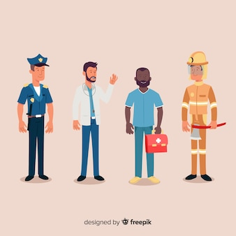 Squadra di emergenza professionale disegnata a mano