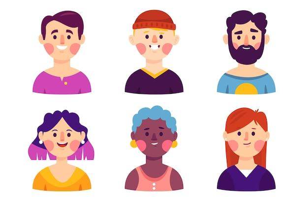 Collezione di icone del profilo disegnate a mano