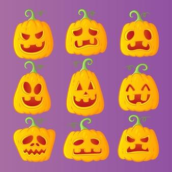 Collezione di zucche disegnate a mano halloween