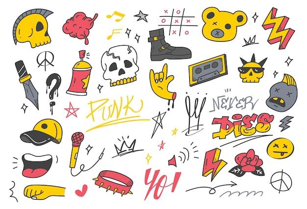 Doodle di graffiti punk disegnati a mano