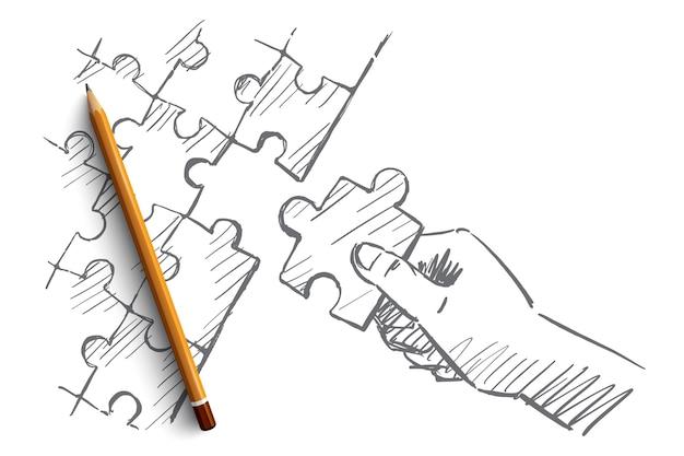 Schizzo di concetto mano puzzle disegnato a mano