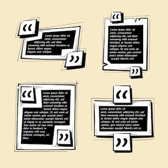 Collezione di frame box citazione disegnata a mano