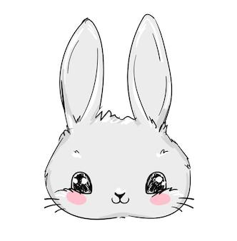 Coniglio disegnato a mano. illustrazione carina.