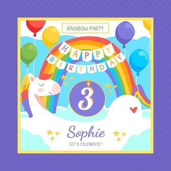Modello di invito compleanno arcobaleno disegnato a mano