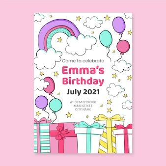 Invito di compleanno arcobaleno disegnato a mano