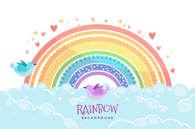 Tema arcobaleno disegnato a mano