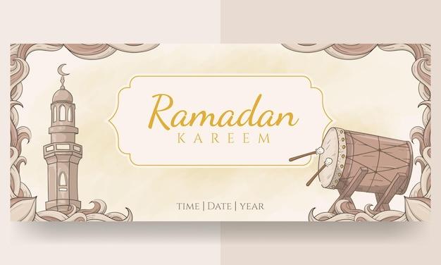 Banner di ramadan kareem disegnato a mano