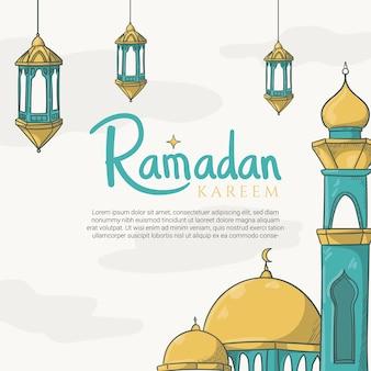 Cartolina d'auguri di ramadan kareem disegnata a mano con ornamento del ramadan islamico