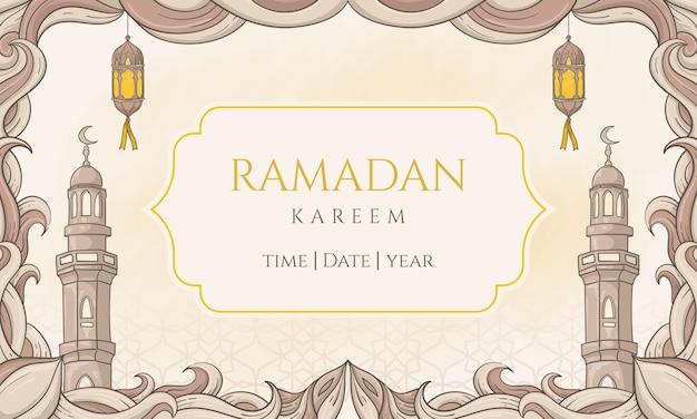 Ramadan kareem disegnato a mano con ornamento islamico. perfetto per biglietto di auguri o banner
