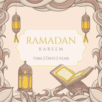 Ramadan kareem disegnato a mano con ornamento islamico