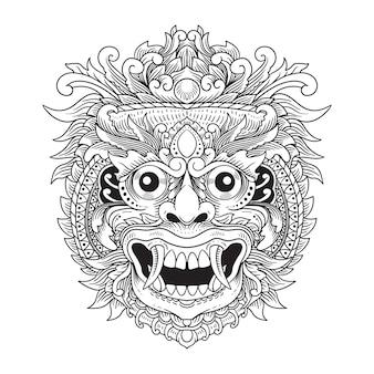 Disegnato a mano rangda bali illustrazione linea arte in bianco e nero