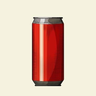 Modello di lattina di birra rossa disegnata a mano. lattina per bevande isolato su sfondo chiaro. design per menu da pub, cartoline, poster, stampe, imballaggi. illustrazione vettoriale di stile inciso vintage
