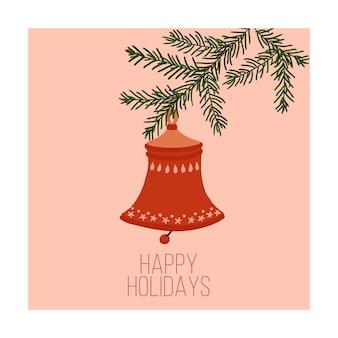 Cartolina d'auguri campana rossa disegnata a mano per cartoline di natale e design invernale vector