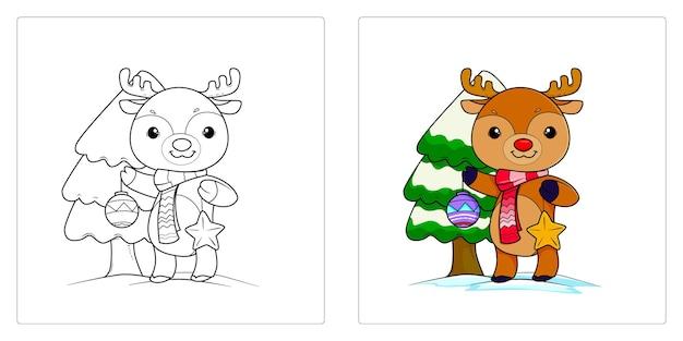 Renne disegnate a mano per pagine da colorare premium vector
