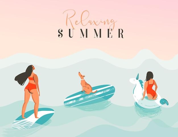 Illustrazione di estate relaxin disegnata a mano
