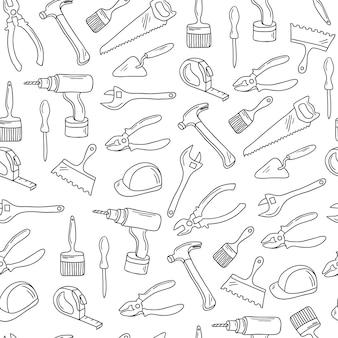 Modello senza cuciture di strumenti di riparazione disegnati a mano. illustrazione vettoriale.