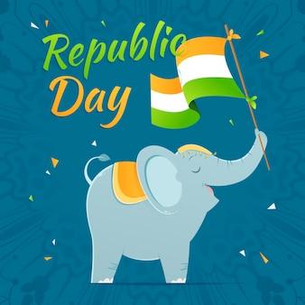 Giorno della repubblica disegnato a mano con elefante