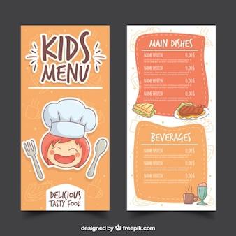Menù disegnati a mano ristorante per bambini