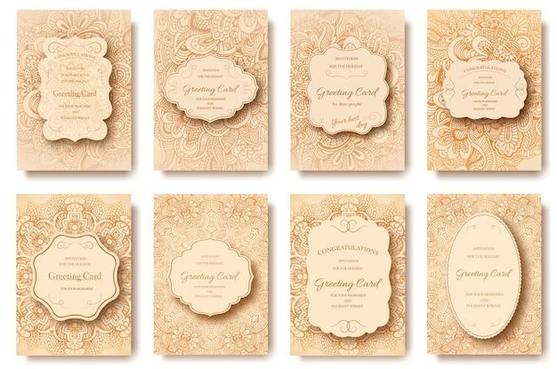Disegnata a mano retrò carta flyer pagine ornamento illustrazione concetto.