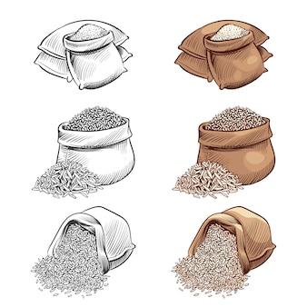 Insieme di vettore di sacchi di riso disegnati a mano. schizzo riso isolato su sfondo bianco