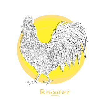 Gallo disegnato a mano in stile doodle sul cerchio giallo