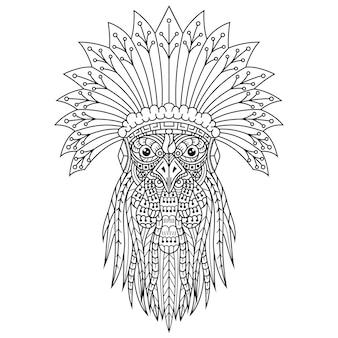 Disegnato a mano del capo tribale del gallo in stile zentangle