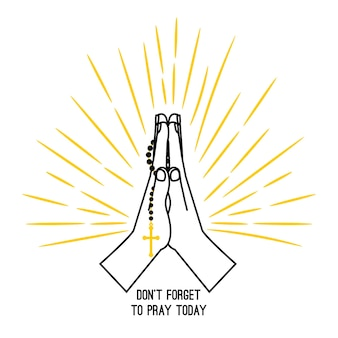 Manifesto di vettore di preghiera del rosario disegnato a mano isolato su priorità bassa bianca. chiesa cristiana che prega le mani con i rosari