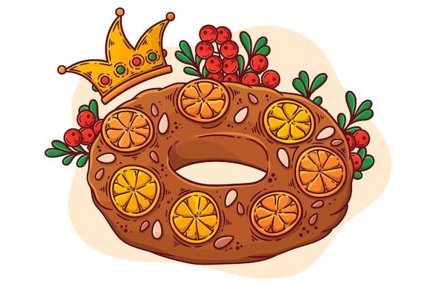 Roscon de reyes disegnato a mano illustrato