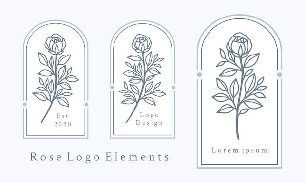 Collezione di elementi logo fiore rosa disegnata a mano Vettore Premium