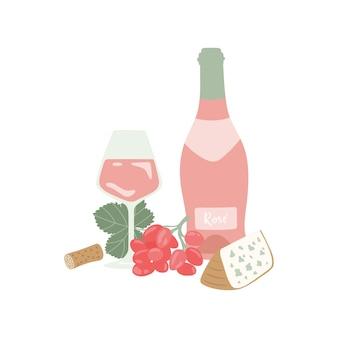 Bicchiere da bottiglia di vino rosato disegnato a mano con uva da vino e formaggio