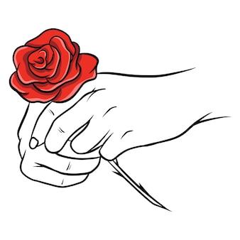 Rose disegnate a mano. bel fiore. stile cartone animato. illustrazione vettoriale. per il design e la decorazione.