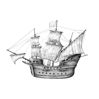 Barca a vela disegnata a mano isolato su sfondo