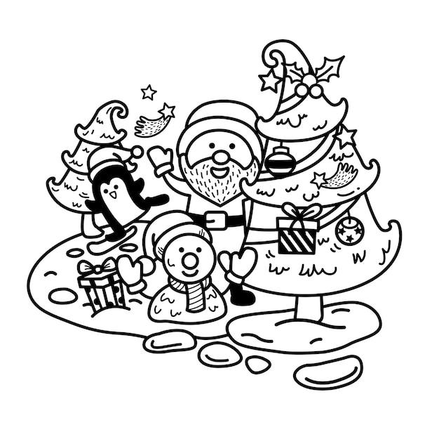 Disegnato a mano babbo natale felice anno nuovo e buon natale