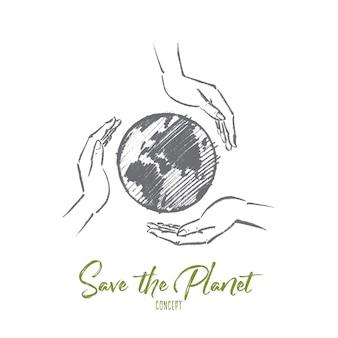 Disegnato a mano salva il concetto di pianeta schizzo