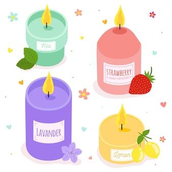Confezione di candele profumate disegnate a mano
