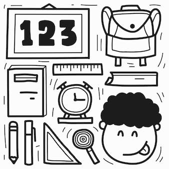 Disegno da colorare di doodle del fumetto della scuola disegnata a mano