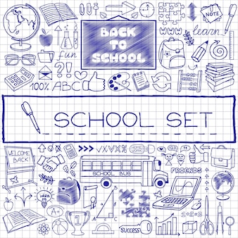 Set di icone di scuola disegnate a mano