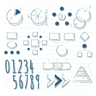 Elementi di infografica scuola disegnati a mano