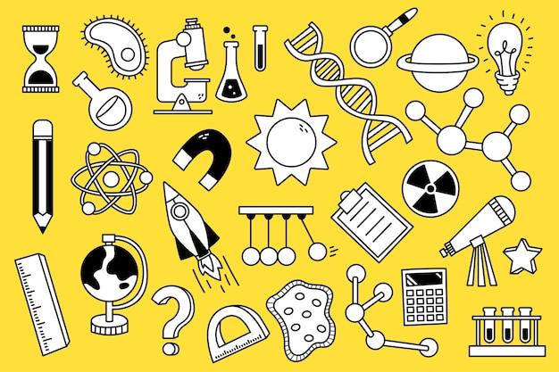 Elementi, oggetti e simboli di doodle di tema di scienza disegnati a mano