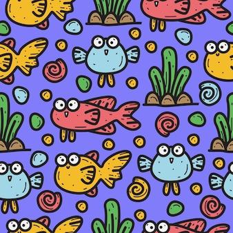 Illustrazione disegnata a mano di progettazione del modello di scarabocchio degli animali marini Vettore Premium