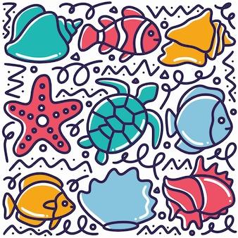 Animali marini disegnati a mano doodle impostato con icone ed elementi di design